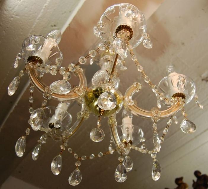 sch ner alter kristalll ster 5 flammig mit messinggestell acryl ummantelt schariwari shop. Black Bedroom Furniture Sets. Home Design Ideas