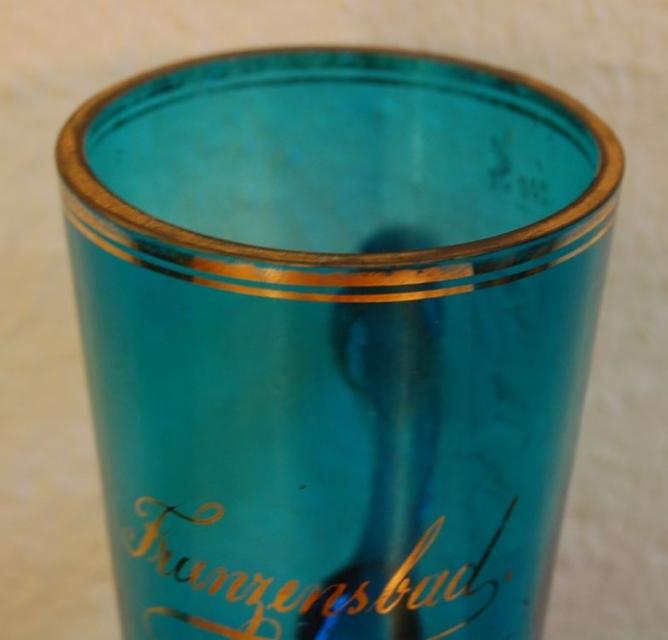 seltenes antikes b hmisches trinkglas aus franzensbad um. Black Bedroom Furniture Sets. Home Design Ideas