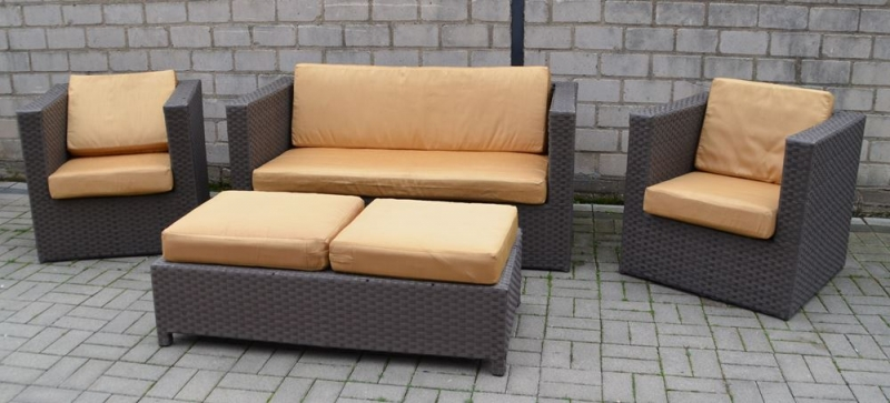 4 tlg set lounge gartenm bel aus polyrattan mit schariwari shop. Black Bedroom Furniture Sets. Home Design Ideas