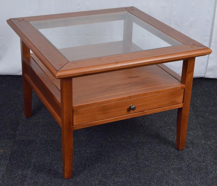 Couchtisch aus erlenholz m glas ablage schublade for Couchtisch schublade glas