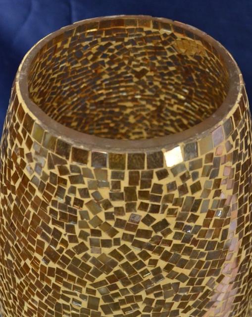 Bodenvase mit goldenem Metall Mosaik-Glas - Schariwari-Shop