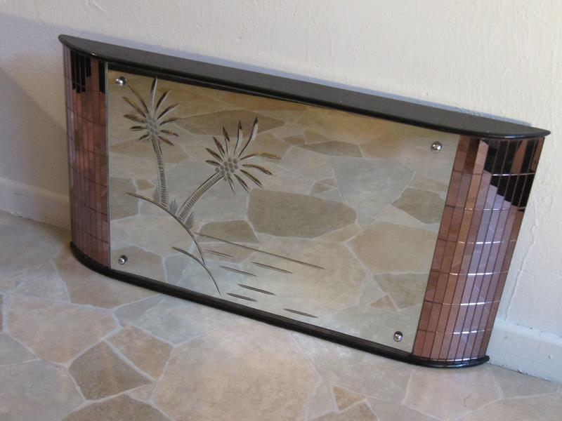 Seltener extravaganter art deco spiegel kunstvoll eingeschliffenes insel palmenmotiv - Deco spiegel ...